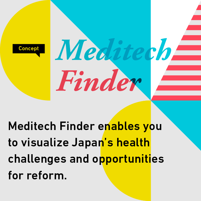 Concept Meditec Finder Visualizing the burden of disease in Japan clearly and intuitively, Meditech Finder will help you understand graphically what Japan's biggest health challenges are, and how to solve them.